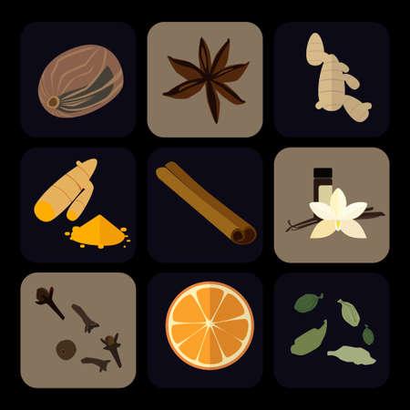 Flat icons set of popular spices. Ginger, orange, anis star, gloves.