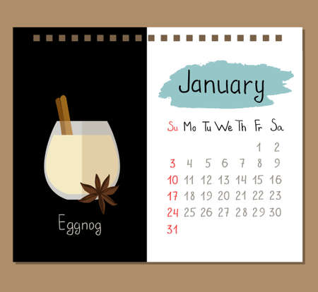 calendar template for January with eggnog and spices.