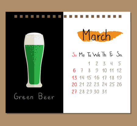 calendar page template with green beer for March month.