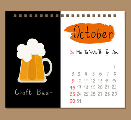 calendar page template for October with craft beer flat icon. Illustration