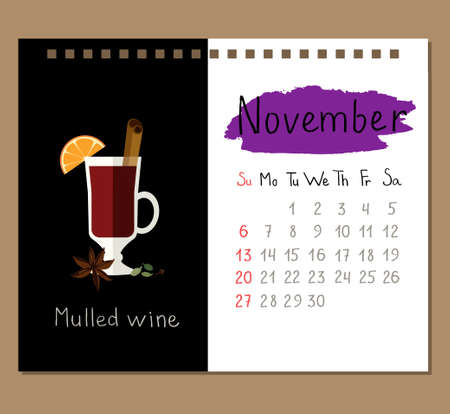 calendar page template for November with mulled wine and spices.