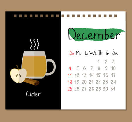 calendar page template for December with cup of Cider, apple and spices. Illustration