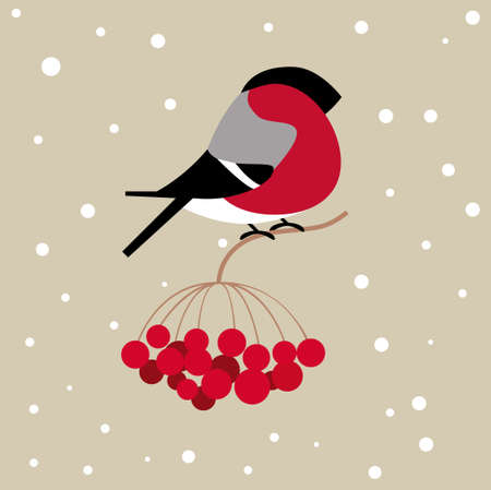 Flat icon of a bullfinch sitting on a branch of viburnum