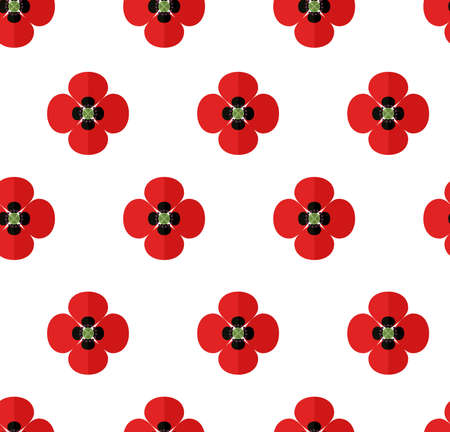 Seamless pattern with red poppy flowers on white background Ilustração