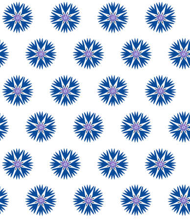 Seamless pattern with blue cornflowers in flat style.
