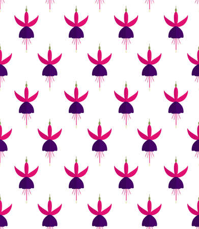 Seamless pattern with fuchsia flowers in flat style