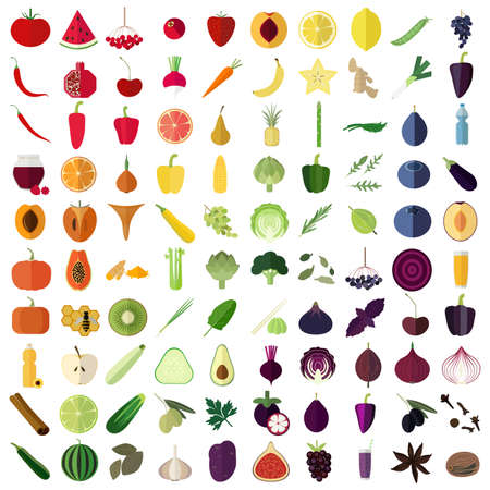 Big set of flat icons of vegetables, fruits, herbs and spices.