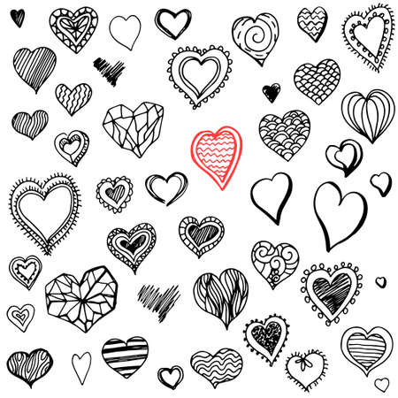 Hand drawn decorative hearts in doodle style.