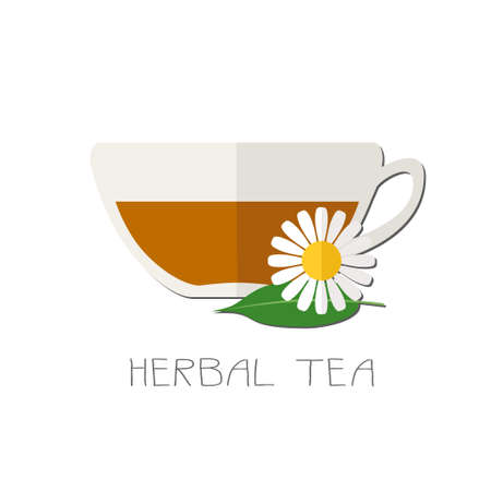 flat icon of transparent cup with green tea and chamomile flower. Illustration