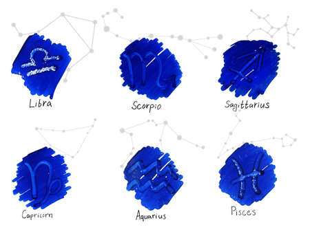 Collection of hand drawn horoscope signs with constellation schemes. Libra - Pisces.