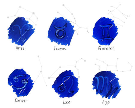 Collection of hand drawn horoscope signs with constellation schemes. Aries - Virgo. Illustration
