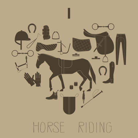 Brown flat icons in a shape of heart. Horse riding icons.