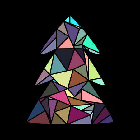 Decorative colorful Christmas tree in polygonal style.