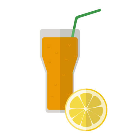 Flat icon of a glass with lemonade