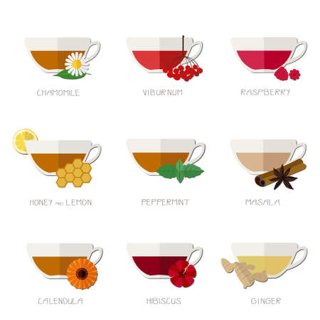 Flat icons of different kinds of  herbal and organic tea.