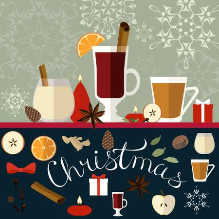 cicuta: ilustración de Navidad composición decorativa con bebidas tradicionales, especias y velas.