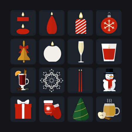 Flat icons collection of traditional Christmas elements. Illustration