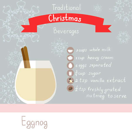 illustration of eggnog recipe. Flat icons