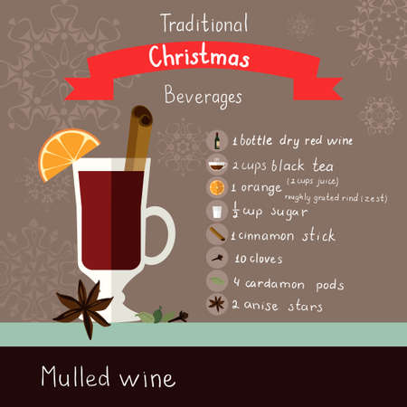 illustration with flat icons of mulled wine recipe. Ilustração