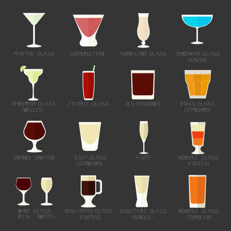 Collection of different shapes of glasses for drink in a flat style with inscriptions.