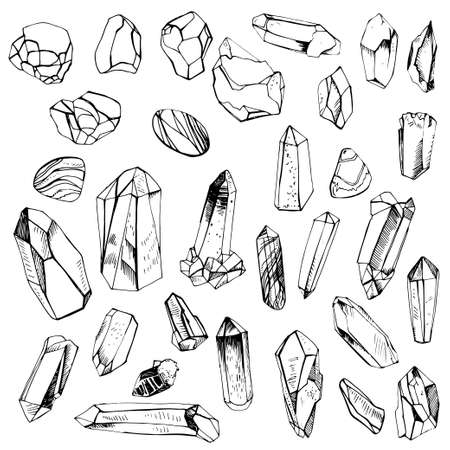 Collection of hand drawn crystals. Precious stones set.