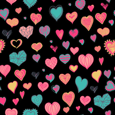 Colorful decorative doodle hearts on black background