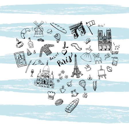 sacre coeur: griffonnages de sites populaires de Paris, cuisine française dessinés à la main, tissu de mode disposés en forme de coeur sur des bandes bleues larges. Illustration