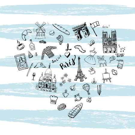 Hand drawn doodles of popular Paris sights, french cuisine, fashion cloth arranged in a shape of a heart on blue wide stripes.