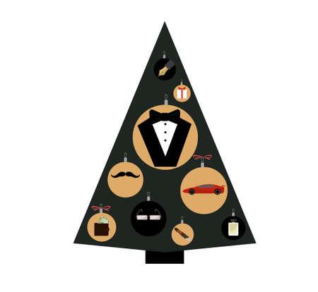 illustration of Christmas tree for gentlemen.