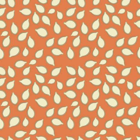 Seamless pattern design with pumpkin seeds on orange background
