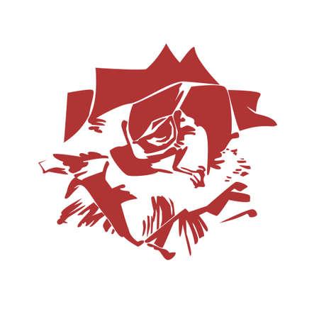illustration of red and white rose flower