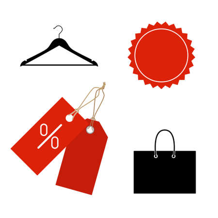 Falt icons of tags, bag, hanger. Shopping symbols.