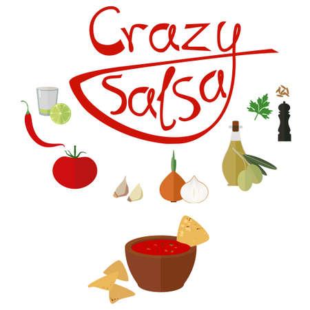 Flat icons of ingredients for slasa souce Illustration