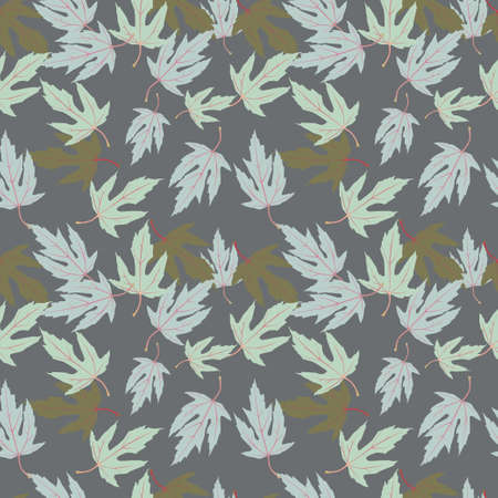 Seamless pattern with maple leaves on gray pavement
