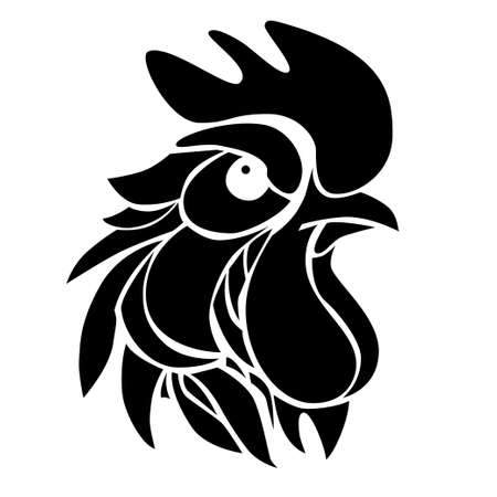illustration with decorative silhouette of suspicious rooster. Graphic symbol of 2017 year in black color.