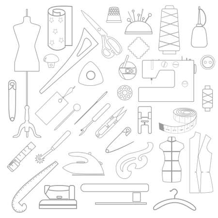 Collection of linear icons of tailor's tools.