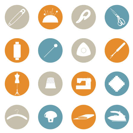 Set of sewing icons in colored circles.