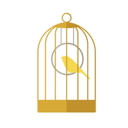 Icône plat d'un canari dans une cage dorée.