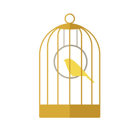 Flat icon of a canary in a golden cage. Vectores