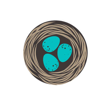 Flat icon of a blackbird's nest with three blue eggs. Illustration