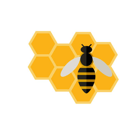 Flat icon of a bee and honeycomb on white background