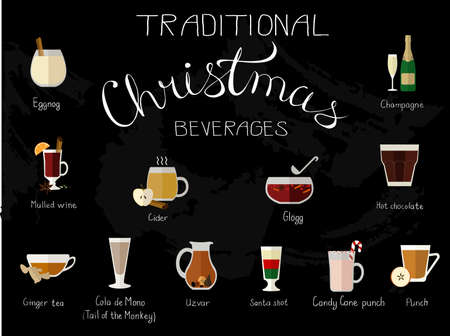 eggnog: illustration of traditional Christmas beverages made in flat style. Illustration