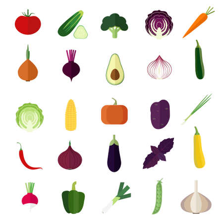 Set of vegetable flat icons on white background.