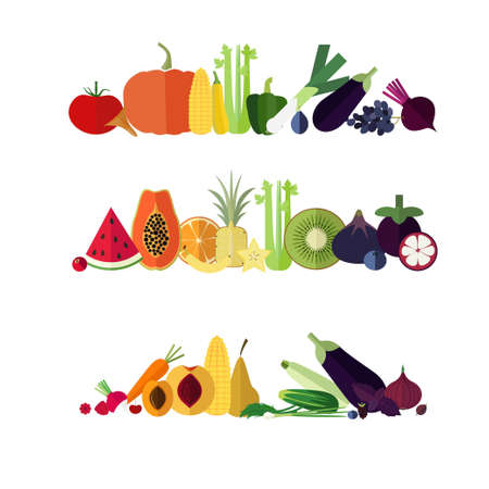 Rainbow banners from flat icons of fruits and vegetables. Ilustração
