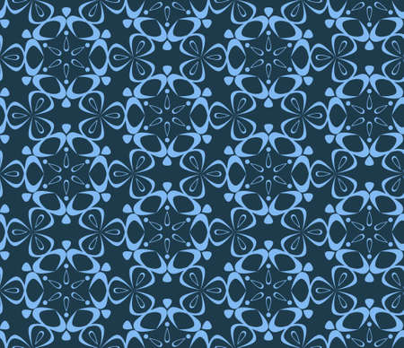 seamless pattern with snowflakes or geometrical hoarfrost drawings.