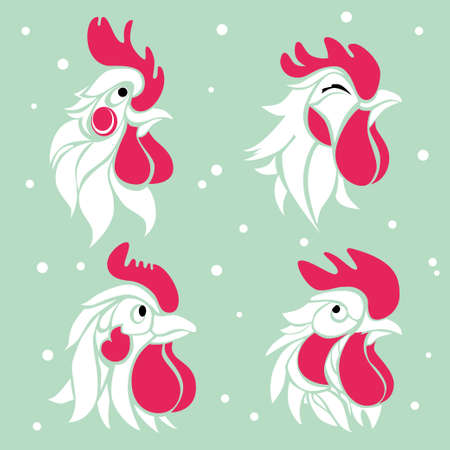Collection of four roosters characters. Shy, happy, serious and suspicious.