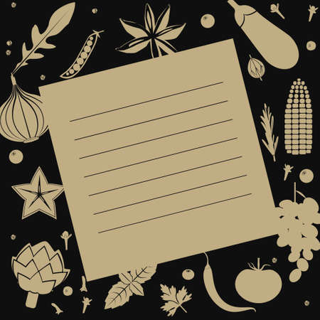 Illustration of recipe blank with vegetable frame in pale brown an black colors.