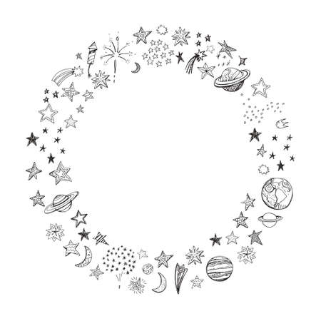 Round frame with hand drawn stars and planets.
