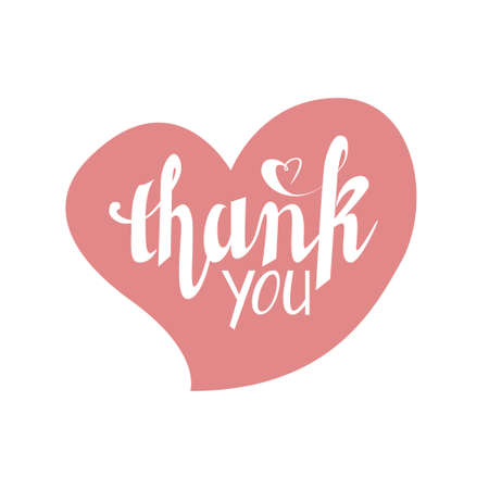 Hand lettering Thank you inside pale pink heart.