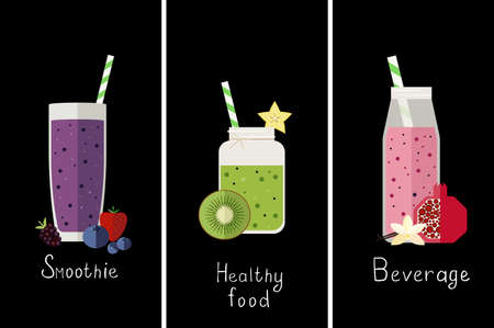illustration of three different kinds of smoothie.